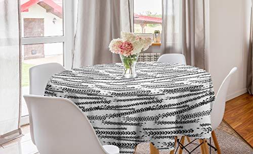 ABAKUHAUS Abstrakt Runde Tischdecke, Grunge Thema Reifen-Bahnen, Kreis Tischdecke Abdeckung für Esszimmer Küche Dekoration, 150 cm, Weiß und Dunkelgrau