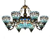 LITFAD Tiffany Baroque Style 37' Width Chandelier Light, Blue Stained Glass Lamp Shade 8+1 Lights Pendant Light Highlights for Living Room Bedroom Hotel