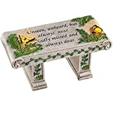 """Solar Powered LED Outdoor Garden Memorial Bench with Heartwarming Inscription - Perfect Faux Stone Plaque Statue to Remember Loved Ones 12"""" L x 5 1/2"""" W x 5 1/4"""" H"""