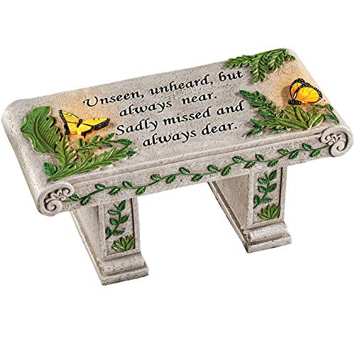 Solar Powered LED Outdoor Garden Memorial Bench with Heartwarming Inscription - Perfect Faux Stone Plaque Statue to Remember Loved Ones 12' L x 5 1/2' W x 5 1/4' H