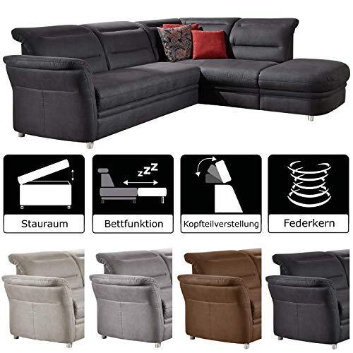Cavadore Eck-Sofa Bontlei / Federkern-Couch mit Kopfteilverstellung / Inkl. Schlaffunktion und Stauraum / 261 x 88 x 237 cm (BxHxT) / Mikrofaser dunkelgrau