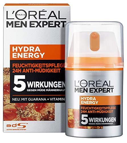 L'Oréal Men Expert Gesichtspflege für Männer, Feuchtigkeitscreme mit Guarana und Vitamin C, Hydra Energy Feuchtigkeitspflege 24H Anti-Müdigkeit, 2 x 50 ml
