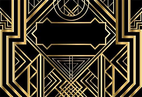Fondo Abstracto geométrico Dorado de la Vendimia Patrón Art Deco Fotografía Fondo Adorno 3D Telones de Estilo Moderno Banquetes de Boda Fondo negro-10x8 pies