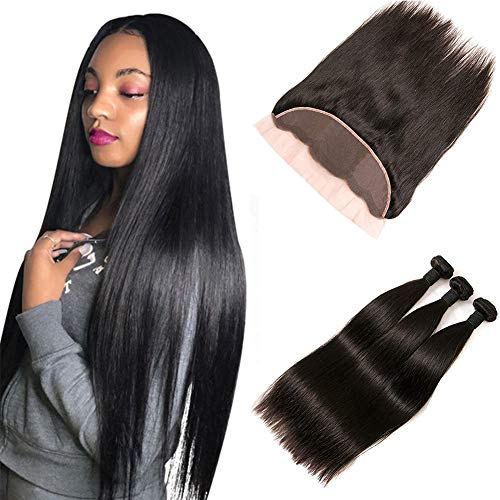 Peruvian Hair With Ear To Ear Closure Lace Frontal 4x13 Mit Straight Human Hair Weave 3 Bundles Unverarbeitete Haar Remy Extensions Haarverlängerung Echthaar Tressen Weavon 14 16 18 +12 Frontal