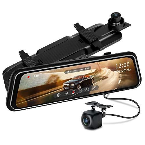2.5K Dash Cam Specchietto, Jansite Specchietto Retrovisore con Telecamera, 10'' Touchscreen Telecamera per Auto Sensore Sony, Registrazione Loop, Visione Notturna grandangolare 170°