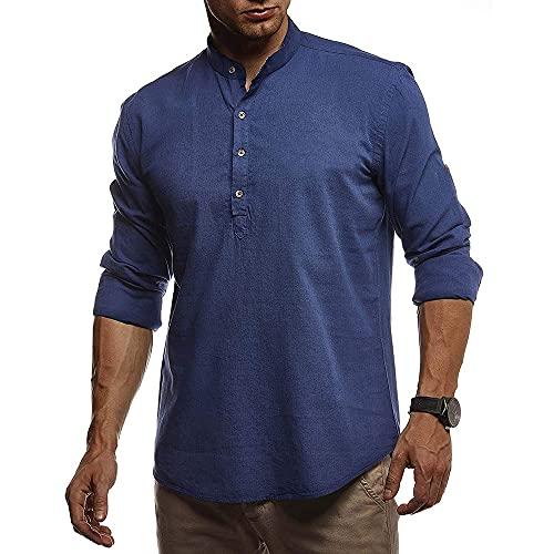 Shirt Ocio Hombre Transpirable Ajustada Color Sólido Manga Larga Hombre Shirt Sin Cuello Tapeta con Botones Shirt Manga Corta Cuello Alto Urbano Negocios Hombre Camisa De Playa F-Navy S
