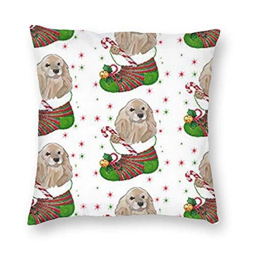goodsale2019 Cocker Spaniel Christmas Home Decor Throw Pillow Cover,Square Decorative Pillow Case 18X18 Inch Cushion Cover Autumn Fall