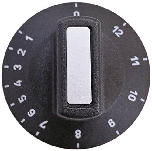 Knebel für Thermostat Achsabflachung oben ø 50mm schwarz für Achse 6x4,6mm Symbol 1-12