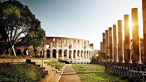 OKOUNOKO 1000 Piezas Puzzles 3D, Antiguo Coliseo De Roma, Arquitectura Clásica, Personalizado De Madera Montaje Rompecabezas Divertido, 75X50Cm