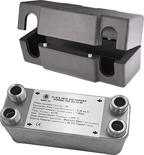 """Edelstahl Wärmetauscher Plattenwärmetauscher NORDIC Ba-12-20, 45kW, 20 platten, 3/4&1/2"""""""