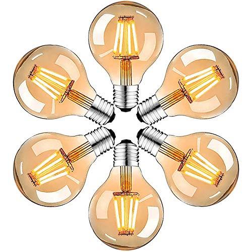 Edison Vintage Glühbirne, Edison LED Lampe Warmweiß E27 4W Retro Glühbirne Vintage Antike Glühbirne Ideal für Nostalgie und Retro Beleuchtung im Familie Hotel Bar usw ,6 Stück