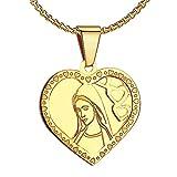BOBIJOO Jewelry - Pendentif Médaille Vierge Marie Coeur Amour Acier Plaqué Or Communion + Chaîne