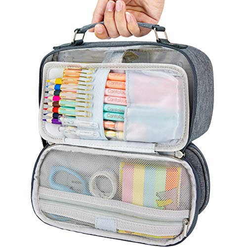 Big Capacity Pencil Case for Teen Boy Girl Adult Women Men Student - Portable Pencil Pouch Stationery Storage Organizer - Large Pen Holder Bag Toiletry Bag for College High School Office Travel