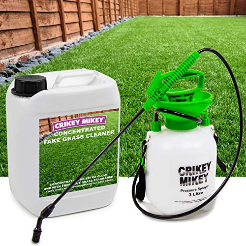 Crikey Mikey 5L Artificial Grass Cleaner 4in1 Disinfectant Deodoriser Pet Friendly + 3L Sprayer