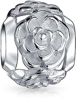 Giardino Fiore Nero Rosa Spazio Charm Bead Per Ragazza Per Donne Ossidato 925 Sterling Argento Si adatta braccialetto europeo