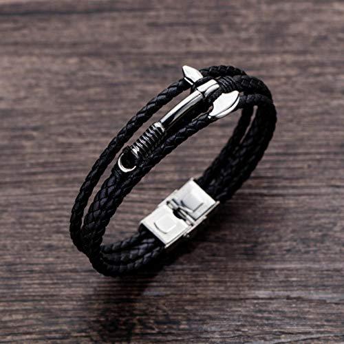 XCLXJ Gepersonaliseerd Ontwerp Titanium Staal Bijl Lederen Sieraden Cross-Border Trend mannen Voorbereiding Wild Multi-Cirkel Lederen Armband