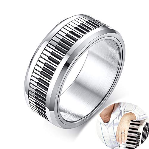 SDFASD Stilvolle Herren Piano Player Band Spinner Ring Aus Edelstahl Musik Keyboard Enthusiast Male Jewelry 10