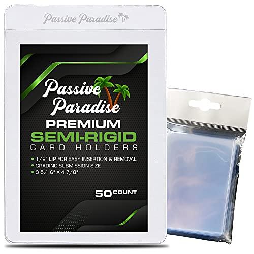 Passive Paradise Card Savers – 50 unidades premium semi-rígidas para tarjetas y 100 peniques incluidos, tarjetas de comercio semi rígidas