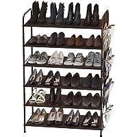 Simple Houseware 6-Tier Shoe Rack Storage Organizer With Side Hanging Bag (Bronze)