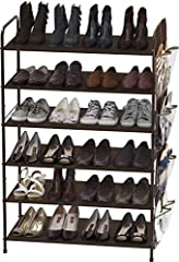 Stores up to 18-34 pairs of shoes, Additional bottom storage for slippers, a 4-pairs side pockets organizer included. Sturdy metal construction with washable 600 D polyester fabric, each shelf holding up to 30 lbs. Easy Assembly Personalized Storage:...