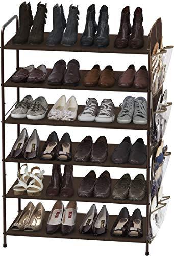 6层鞋架带侧挂袋, 可容纳34 双鞋