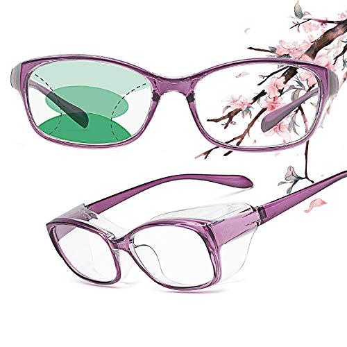 JIMMY ORANGE老眼用花粉症メガネ 遠近両用 曇り止め UVカット ブルーライトカット 防塵 おしゃれ メンズ レディース RG201 パープル +1.50