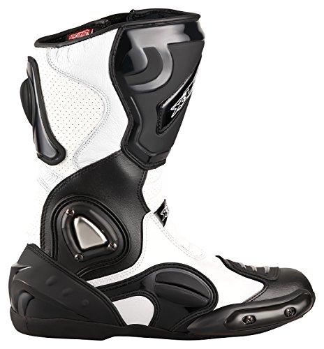 XLS Motorradstiefel hochwertige Racing Boots Touringstiefel Lederstiefel schwarz weiß (47)