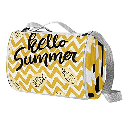 Manta de picnic portátil de 57 x 59 pulgadas, impermeable, para playa, camping, césped, música, festival amarillo, hola, verano, piña