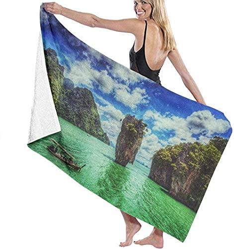 jhgfd7523 Toalla de playa grande toalla de baño, paisaje isla de agua Ko Tapu Tailandia toalla de microfibra perfecta para deportes, viajes, playa, secado rápido, súper absorbente, 80 x 130 cm