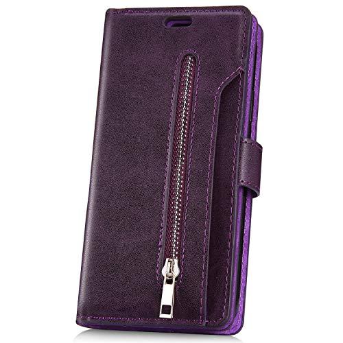 JAWSEU Compatibel met Huawei P20 Pro Case Flip Case Magnetische beschermhoes lila
