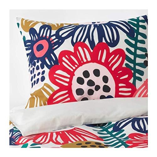 Ikea Sommaraster 504.232.95 - Copripiumino e federe, per Letto King, Colore: Bianco e Multicolore