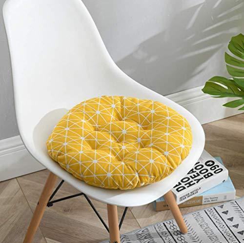 homeyuser 2 gepolsterte Sitzkissen für Stuhl, Sitzkissen, rund, für Esszimmer, Garten, Küche, Büro, Gelb