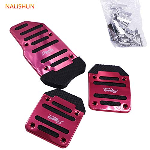 3pcs Nonslip Car Pedal Pads Auto Sports Gas Fuel Petrol Clutch Brake Pad Cover Foot Pedals Rest Plate Kits For MT(Manual Transmission) Car