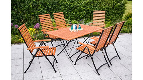 MERXX Gartenmöbelset Schloßgarten, 7tlg, 6 Sessel, Tisch, klappbar, ausziehbar, Eukalyptus Natur