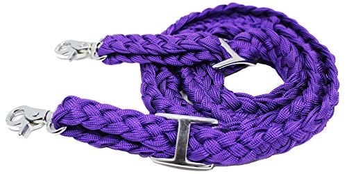 CHALLENGER Roping Knotted Horse Tack Western Barrel Reins Nylon Braided Purple Snaps 60709