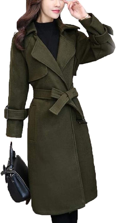 Omniscient Women's Wool Pea Coat with Belt Buckle Spring MidLong Long Sleeve Lapel