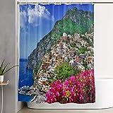 VINISATH Cortinas de Ducha,Hermoso Paisaje de la Costa de Amalfi de Italia, Positano,Cortina de baño Decorativa para baño,bañera 180 x 180 cm