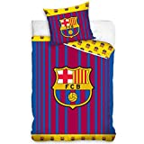 FC Barcelona Barcode Stripe - Juego de funda de edredón individual