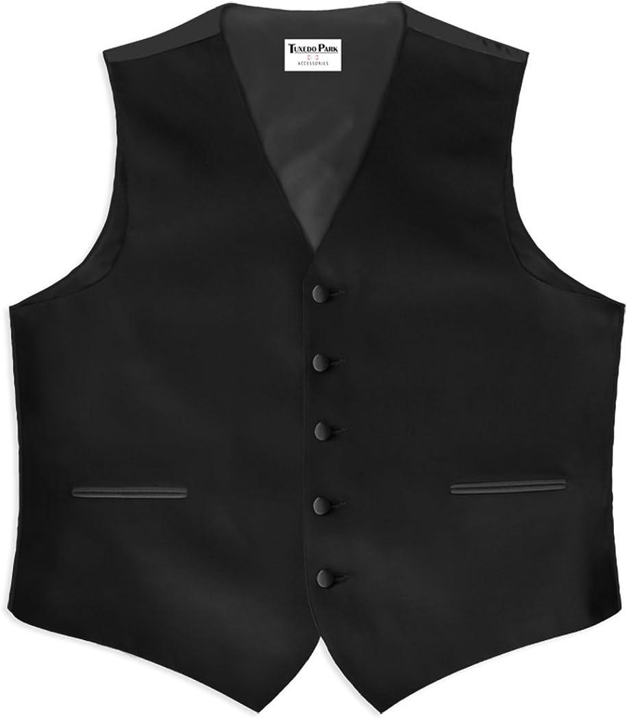 Black Wool 5 Button Full Back Vest