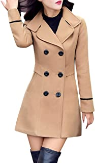 Ladies Double Breasted Pea Coat Elegant Winter Lapel Wool Coat Trench Jacket Overcoat Outwear