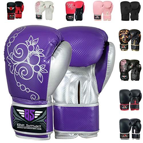 Autentici Guantoni da boxe rosa, imbottiti, da donna, per la palestra, arti marziali miste, allenamento al sacco e boxe thailandese, Purple/Silver