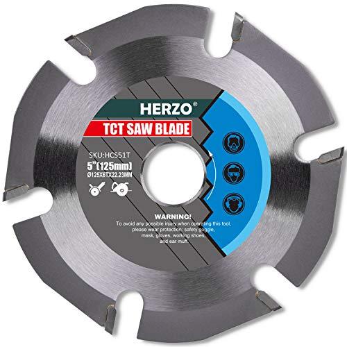 HERZO Disco de TCT Hojas de Sierra Circular para Madera Contrachapada 125 mm x 22 mm 6 Dientes