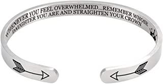 HHoo88 for Daughter Granddaughter Sisters Stainless Steel Engraved Bangle Friendship Inspirational Bracelet Jewelry Gift