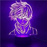 Lámpara De Ilusión 3D Luz De Noche Led Anime My Hero Shoto Todoroki Para Decoración De Dormitorio De Niños Boku No Hero Juguetes Regalos Muñecas