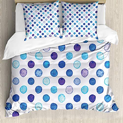 ABAKUHAUS Acuarela Funda Nórdica, Azul Tonos Suaves Funky, Decorativo, 3 Piezas con 2 Funda de Almohada, 200 x 200 cm, Multicolor