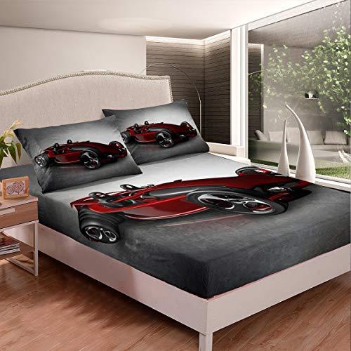 Juego de sábanas de coche 3D rojo para niños, niñas, adolescentes, decoración de carreras, ropa de cama ajustable, estilo deportivo, 3 piezas, tamaño doble