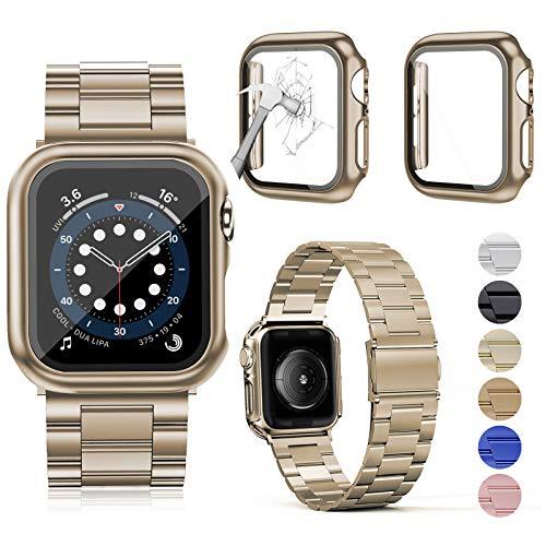 OMEE Compatible con Apple Watch Band de 40 mm con 2 piezas, correa de metal de acero inoxidable para Apple Watch Series 6/5/4/3/2/1/SE (40 mm, champán)