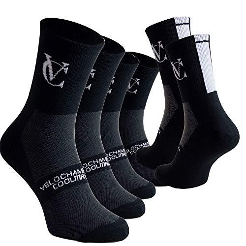 VeloChampion 3 Pack Speed Line Black Coolmax Cooling, Breathable Sports, Running, Fitness Socks. UK 6-8/EU 38-42