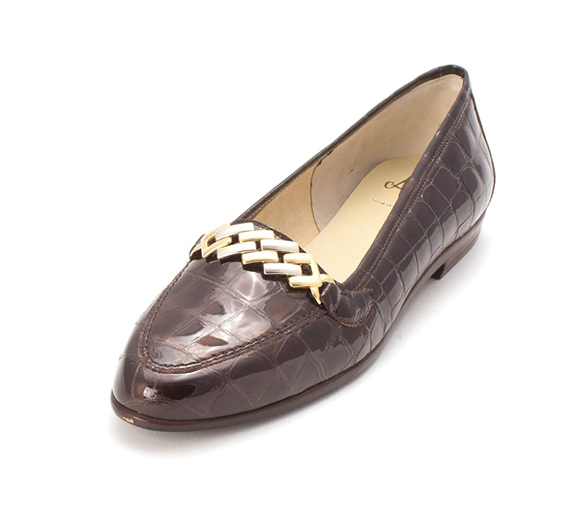 望むおとなしい甥[Amalfi by Rangoni] Womens Oste Almond Toe Loafers, Brown/New Crocco, Size 7.5 [並行輸入品]