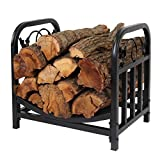 Patio Watcher Firewood Rack Log Bin Firewood Storage Holder for Indoor Outdoor Backyard Fireplace Heavy Duty Steel Black